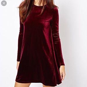 UO Burgundy Velvet Swing Dress